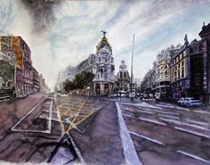 Sunday afternoon Aquarelle 61 x 38 Fabriano Artistoco Original price: 1500 Euro, exclusive high end imprint on aquarelle paper - 150 Euro Euro, Louvre, Sunday, The Originals, City, Paper, Building, Travel, Voyage