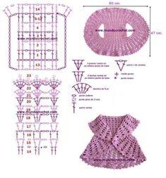 Round crochet vest for girl-fr Gilet Crochet, Crochet Vest Pattern, Crochet Jacket, Crochet Stitches Patterns, Crochet For Kids, Diy Crochet, Crochet Dolls, Crochet Baby, Barbie Knitting Patterns