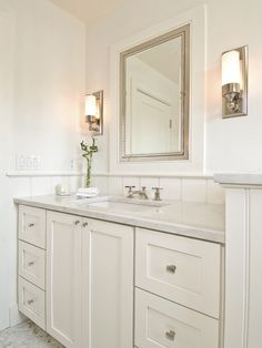 Hampton Design: Monochromatic bathroom design with white paint color, cream single bathroom design with ...
