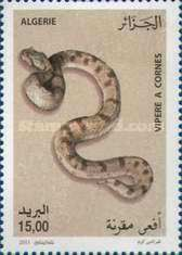 Horned viper - Snakes. Algerian  stamp, circa 2011