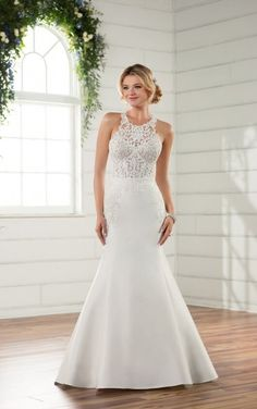 70cc144bba2 D2336 Modern Lace Wedding Gown by Essense of Australia Lace Wedding