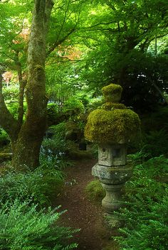 In A Japanese Garden. Garden Paths, Garden Art, Garden Design, Garden Ideas, Japan Garden, Meditation Garden, Garden Lanterns, Woodland Garden, Enchanted Garden