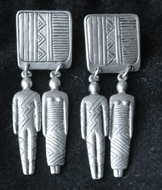 Lovely Vintage Pair Of Laurel Burch Silver Toned Man And Woman Pierced Pendant Earrings...From The Art Of Human Being Collection 1980's by JanesBitsAndPieces on Etsy