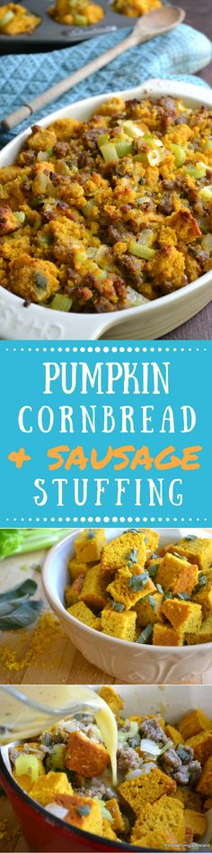 Pumpkin Cornbread Stuffing with Country Sausage and Sage is hands down the best stuffing I've ever had.  The flavors are phenomenal, and to be honest, when you've got a stuffing like this, you don't really need the turkey at all! #stuffing #Thanksgiving #Christmas #sidedish #pumpkincornbread #pumpkin #cornbreadstuffinng #beststuffing #sausagestuffing #sage