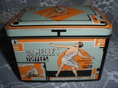 .A Dutch van Melle sweeties Tin produced at the occasion of the IXth Summer Games, Johnny Weismüller, Yes later Tarzan, won 2 times the Goldmedal, this is the vintage item with all kind of Sports all around the Tin, its in my Collection and for Sale