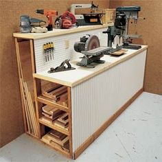 Workbench with built-in storage