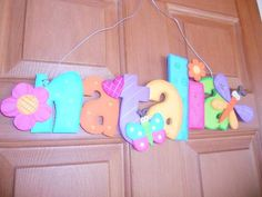 Nombres en madera country para niños - Imagui Painting Wooden Letters, Painted Letters, Wood Letters, Dot Painting, Alphabet Letters Design, Fancy Letters, Foam Crafts, Crafts To Make, Diy Crafts