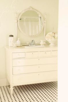 White antique furniture, slighty imperfect, lots of character! repaint all we have. Gorgeous Bathroom, Furniture, Shabby Chic Dresser, My Furniture, Dresser Sink, Home Furniture, Bathroom Makeover, Bathroom Inspiration, Interior Decorating Styles
