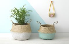 Olli Ella's fair-trade white dipped and mint dipped belly baskets are a must have for any home. Great for plants, magazines, toys and all sorts!