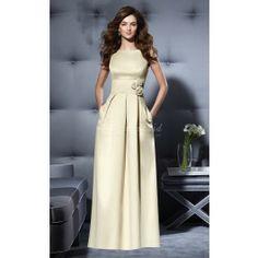Ivory Satin A-line Bateau Floor-length Bridesmaid Dresses(BD664)