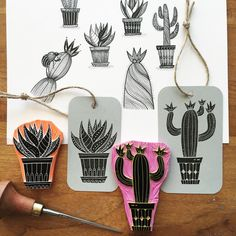 Handcarved rubberstamps based on a few of my cactus drawings. by viktoriaastrom Stamp Printing, Printing On Fabric, Screen Printing, Stencil, Homemade Stamps, Cactus Drawing, Stamp Carving, Linoprint, Diy Papier