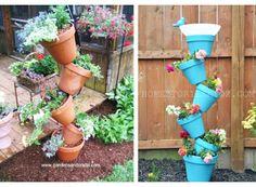 Pots empilés en colonne - Tipsy plant pots