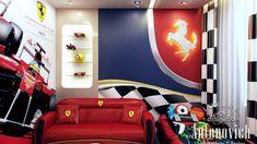 Boys Room Dcor (ferrari) By Luxury Antonovich Design, Ferrari Home Decor - Penguin Pictures Boy Car Room, Boys Car Bedroom, Luxury Kids Bedroom, Small Room Bedroom, Cool Boys Room, Boys Room Decor, Bedroom Decor, Cute Apartment, Kids Room Design