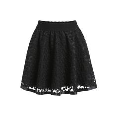 SheIn(sheinside) Black Embroidered Lace Flare Skirt ($16) ❤ liked on Polyvore featuring skirts, black, short skater skirt, flared skirt, black skater skirt, skater skirt and short skirts