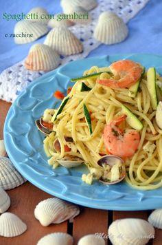 Spaghetti con gamberi e zucchine