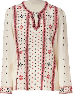 ShopStyle: Paul & Joe Sister Ecru, Red, and Black Embroidered Tunic