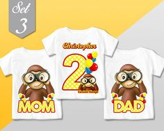 Curious George T Shirt, SET FAMILY 3 Qty - Curious George family Birthday shirt, Family tshirt sets / Mommy Dad Girl or Boy Family Birthday Shirts, One Year Birthday, Family Birthdays, 3rd Birthday Parties, First Birthdays, Birthday Ideas, Curious George Party, Curious George Birthday, Monkey First Birthday