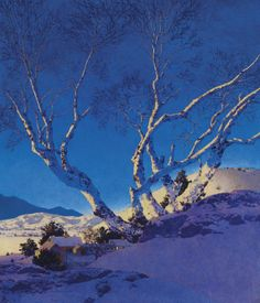 'White Birches: Winter' 1951 by Maxfield Parrish by Plum leaves, via Flickr