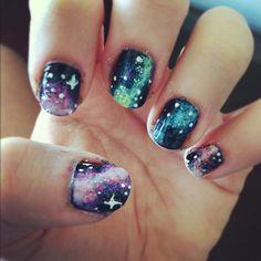 Galaxy / nebula / space nail art  by LookAtHerNails