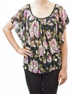 Leisureland Women's Lace Top Flutter Sleeve Rose Print Blouse Leisureland. $19.99