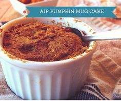 Grab this super simple recipe for AIP Pumpkin Mug Cake