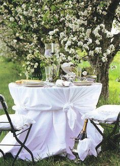 Dining al Fresco under the blossoming trees Outdoor Rooms, Outdoor Dining, Outdoor Tablecloth, Wedding Decor, Wedding Ideas, Beautiful Table Settings, Romantic Dinners, Romantic Table, Romantic Backyard