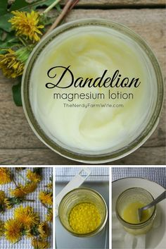 Natural Preservatives for Homemade Lotion (An Homemade Products Using Flowers & Herbs From Your Garden Dandelion Magnesium Lotion {relieve leg & back aches growing pains restless legs} Vida Natural, Belleza Natural, Natural Healing, Holistic Healing, Natural Beauty, Holistic Wellness, Natural Skin, Natural Home Remedies, Herbal Remedies