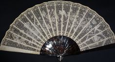 An outstanding 19th century whitework and drawnthread work fan. The leaf is decorated with birds butterflies people and a Royal crown, the work is probably the finest Ayrshire work that we have seen - but not yet sure, many apologies for that