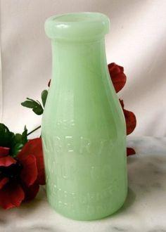 Jade Green Glass Milk Bottle w/ Statue of Liberty