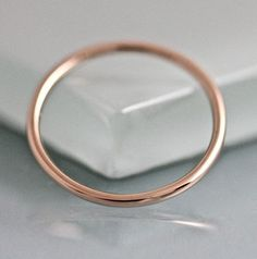 Rose Gold Ring 1.3mm 14k Wedding Band Stack Ring Full Round #BridalAccessories