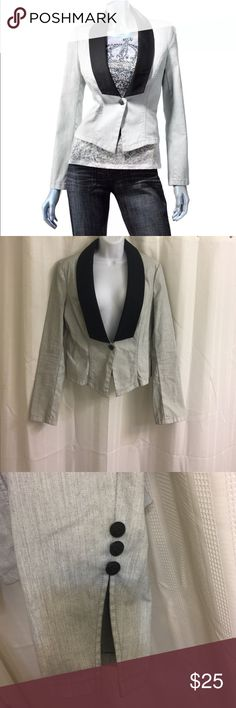 "Rock & Republic Gray Denim Blazer w/Trendy Cuffs! ""Full Metal"" blazer in light gray denim - super cute fancy cuffs with the R&R logo on all buttons.  Originally priced $90.  Excellent, gently used condition. Rock & Republic Jackets & Coats Blazers"