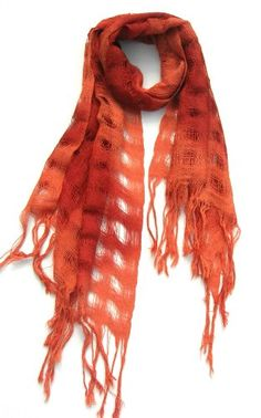 """Women's Shawl Wrap Scarf Lightweight Open Weave Design in Pure 100 Baby Alpaca Wool In Shaded Ombre Persimmon 25"""" W x 70"""" L $49.95"""