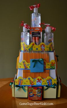 """School Supplies """"Cake"""" - great way to put together some much needed supplies for a teacher"""
