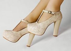 Wedding Shoes Wedges | Ivory Lace Wedding Wedge T-Strap Platform Women Shoes FD5399