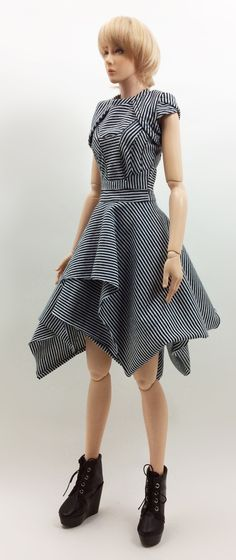 Hexagonal Dress '' Allure Stripes '' (OS-194) OUGI SAIGON order-made fashion studio for 1/3 scale Dolls