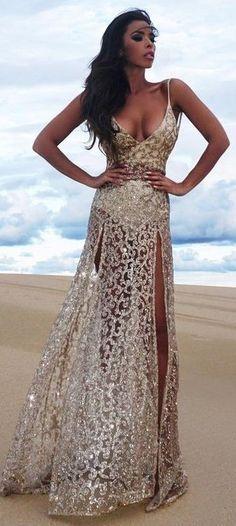 Golden Lace Gown…
