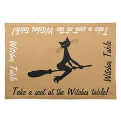 Witches Table Cat On Broomstick