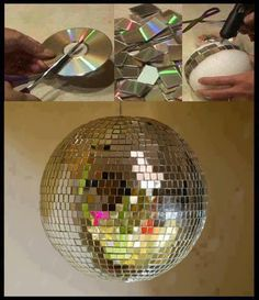 Easy Old CD Projects Ideas DIY For Home Decoration. DIY old cd crafts ideas tutorial with steps of making cd clock, cd lamps and candle stand Disco Party, Disco Theme, Deco Disco, Diy Luminaire, Silvester Party, New Years Party, Decade Party, Craft Projects, Craft Ideas
