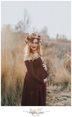 Boho outdoor maternity session, Dress and flower crown from Sew Trendy Accessories