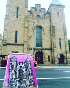 Central Presbyterian church, Downtown Columbus. #livesketching — at Central Presbyterian Church.  Art by Hemu