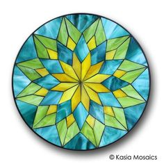 Glass Mosaic Mandala by Kasia Mosaics Visit to purchase a template/substrate kit or to sing up for an Online Class Stained Glass Tattoo, Stained Glass Quilt, Stained Glass Crafts, Stained Glass Designs, Stained Glass Patterns, Mosaic Patterns, Doodle Patterns, Mandala Design, Mosaic Art