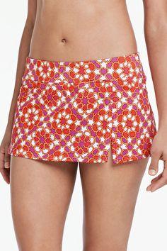 Women's Beach Living Tummy Control Mini SwimMini Swim Skirt - Mosaic from Lands' End Summer Wear, Summer Fun, Polka Dot Bikini, Swim Skirt, Woman Beach, Boho Shorts, Bathing Suits, Gym Shorts Womens, Cute Outfits