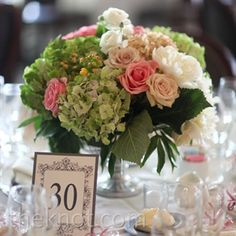 Pink and White Wedding Reception Centerpieces