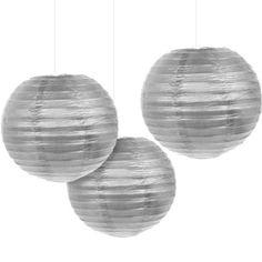 Silver Paper Lanterns 3ct