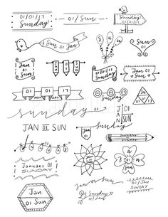 Résultats de recherche d'images pour « bullet journal date layouts Doodle Bullet Journal, Bullet Journal Headers, Bullet Journal Banner, Bullet Journal Inspo, Journal Diary, Bullet Journals, Journal Fonts, Sketch Notes, Journal Aesthetic