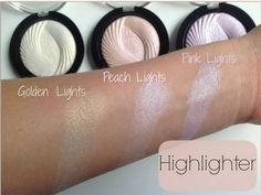 Makeup Revolution Vivid Baked Highlighters in GOLDEN LIGHTS, *PEACH LIGHTS & *PINK LIGHTS