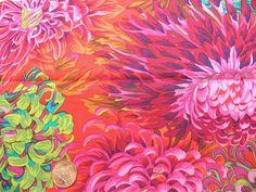 Fat Quarter Kaffe Fassett Chrysanthemum Scarlet - Rowan Cotton Quilting Fabrics