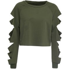 Army Green Cut Out Sleeve Raw Hem Cropped Sweatshirt (75 PEN) ❤ liked on Polyvore featuring tops, hoodies, sweatshirts, shirts, sweaters, crop tops, military green shirt, long-sleeve crop tops, army green shirt and olive green top