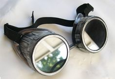 STEAMPUNK CYBER GOGGLES Distressed Silver Pewter by jadedminx, $29.50