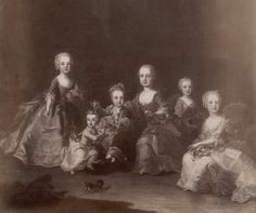 Marie Antoinette (second from R) and her siblings Maria Josepha, Joseph, Carolina, Maximilian and Ferdinand, 1759 by Franz Xaver Wagenschoen